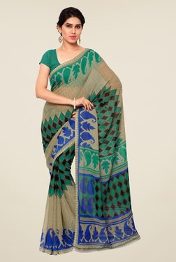 Shonaya Beige & Teal Printed Saree