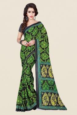 Shonaya Grey & Green Floral Print Saree