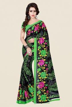Shonaya Black & Green Floral Print Saree