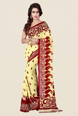 Shonaya Beige & Red Paisley Print Saree