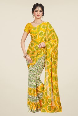 Shonaya Cream & Yellow Printed Saree
