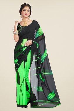 Shonaya Green & Black Floral Print Saree