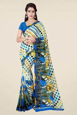 Shonaya Cream & Blue Printed Saree