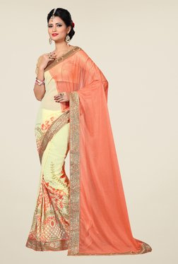 Shonaya Cream & Peach Embroidered Saree