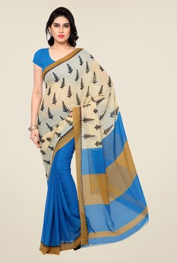 Shonaya Blue & Beige Printed Saree - Mp000000000809908