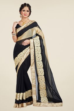 Shonaya Black Embroidered Saree - Mp000000000809956