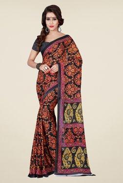 Shonaya Grey & Brown Floral Print Saree