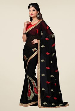 Shonaya Black Embroidered Saree