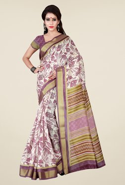 Shonaya Beige & Purple Printed Saree