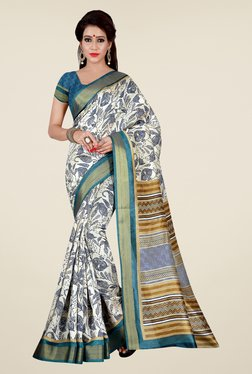 Shonaya Beige & Blue Printed Saree