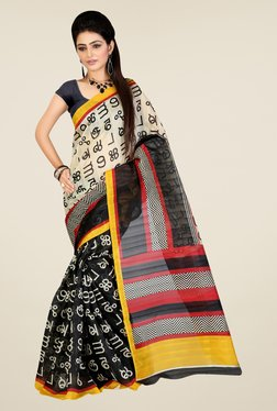 Shonaya Black & Cream Printed Saree