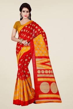 Shonaya Red & Yellow Printed Saree