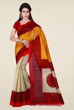 Shonaya Beige & Yellow Printed Saree