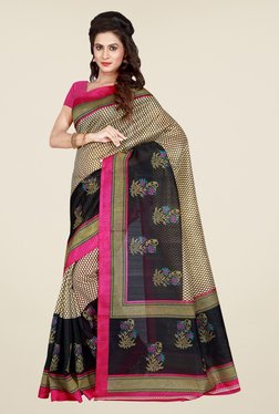 Shonaya Beige & Pink Printed Saree - Mp000000000810317