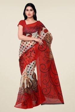 Shonaya Beige & Red Printed Saree - Mp000000000810364