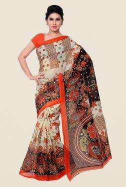 Shonaya Beige & Orange Printed Saree
