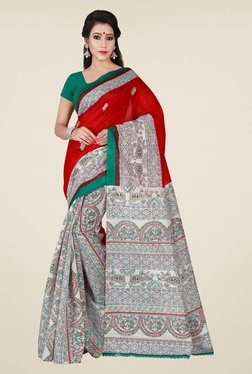 Shonaya Beige & Red Printed Saree