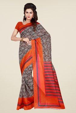 Shonaya Brown & Beige Printed Saree
