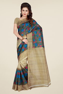 Shonaya Beige & Turquoise Printed Saree