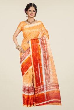 Shonaya Orange & Beige Printed Saree - Mp000000000810457
