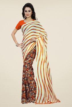 Shonaya Orange & Cream Floral Print Saree