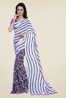 Shonaya Purple & Cream Floral Print Saree