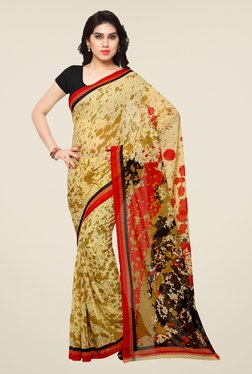 Shonaya Beige & Red Printed Saree - Mp000000000810487