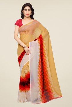 Shonaya Beige & Red Printed Saree - Mp000000000810497