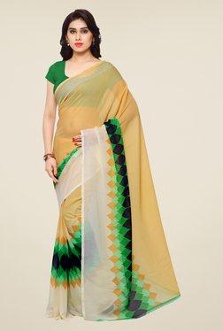 Shonaya Beige & Green Printed Saree