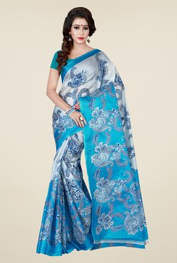 Shonaya Blue & Off White Printed Saree