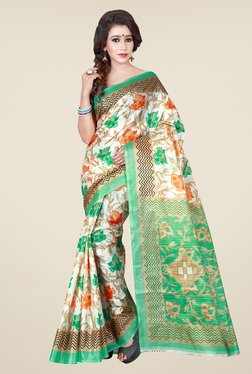Shonaya Cream & Green Floral Print Saree