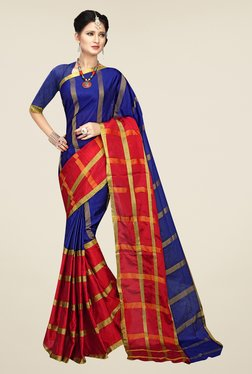 Shonaya Blue & Blue Striped Saree