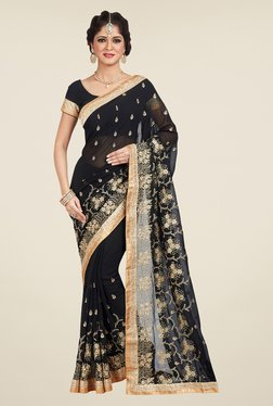 Shonaya Black Embroidered Saree - Mp000000000810621