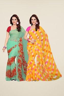 Ishin Green & Yellow Printed Cotton Saree (Pack Of 2)