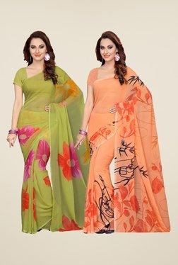 Ishin Olive & Peach Printed Cotton Saree (Pack Of 2)