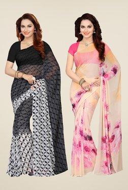 Ishin Grey & Peach Printed Cotton Saree (Pack Of 2)
