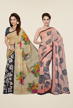 Ishin Navy & Peach Printed Cotton Saree (Pack Of 2)