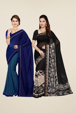 Ishin Blue & Black Printed Cotton Saree (Pack Of 2)