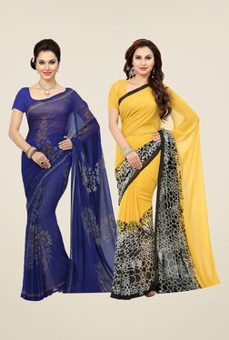 Ishin Blue & Yellow Printed Cotton Saree (Pack Of 2)