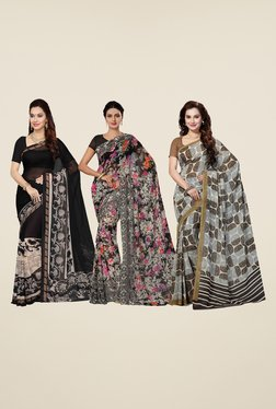 Ishin Black, White & Grey Printed Cotton Saree (Pack Of 3)