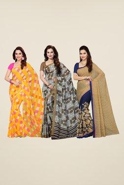 Ishin Yellow, Grey & Navy Printed Cotton Saree (Pack Of 3)