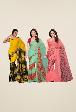 Ishin Yellow, Green & Peach Cotton Saree (Pack Of 3)