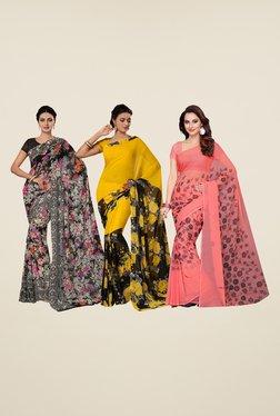 Ishin Black, Yellow & Peach Cotton Saree (Pack Of 3)