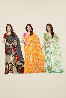 Ishin Beige, Yellow & White Printed Cotton Saree (Pack Of 3)