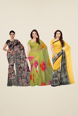 Ishin Black, Olive & Yellow Printed Cotton Saree (Pack Of 3)
