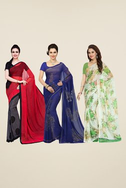 Ishin Grey, Blue & White Printed Cotton Saree (Pack Of 3)