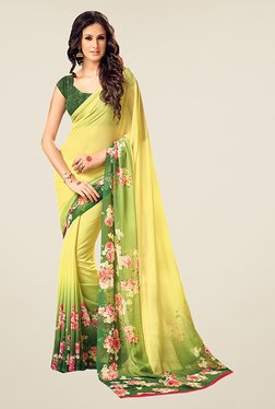 Ishin Yellow Floral Print Faux Georgette Saree - Mp000000000810740