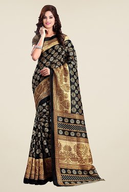 Ishin Black Printed Bhagalpuri Silk Saree