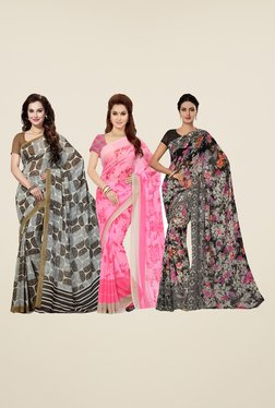 Ishin Brown, Pink & Black Printed Cotton Saree (Pack Of 3)