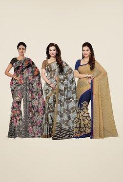 Ishin Black, Brown & Blue Printed Cotton Saree (Pack Of 3)